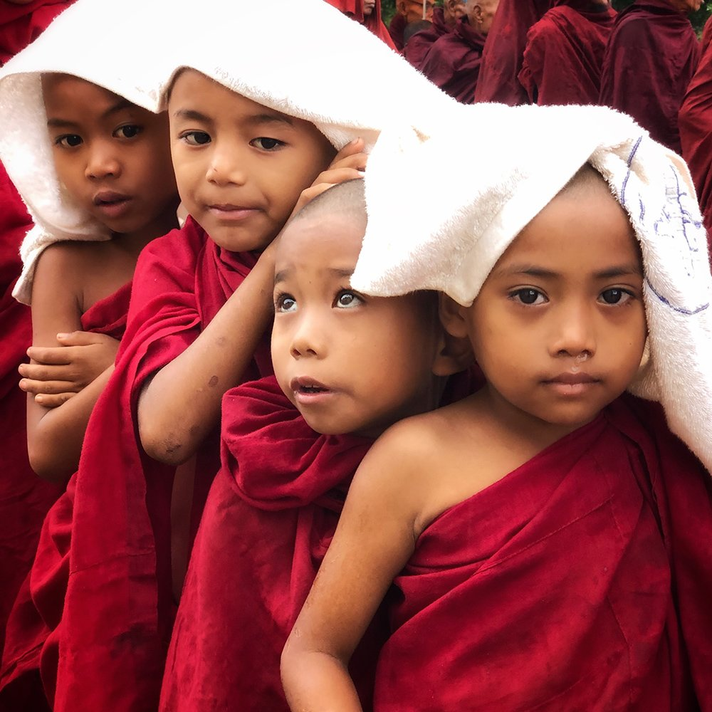 Novice Monks in Bagan, Myanmar. Foto: Penni James